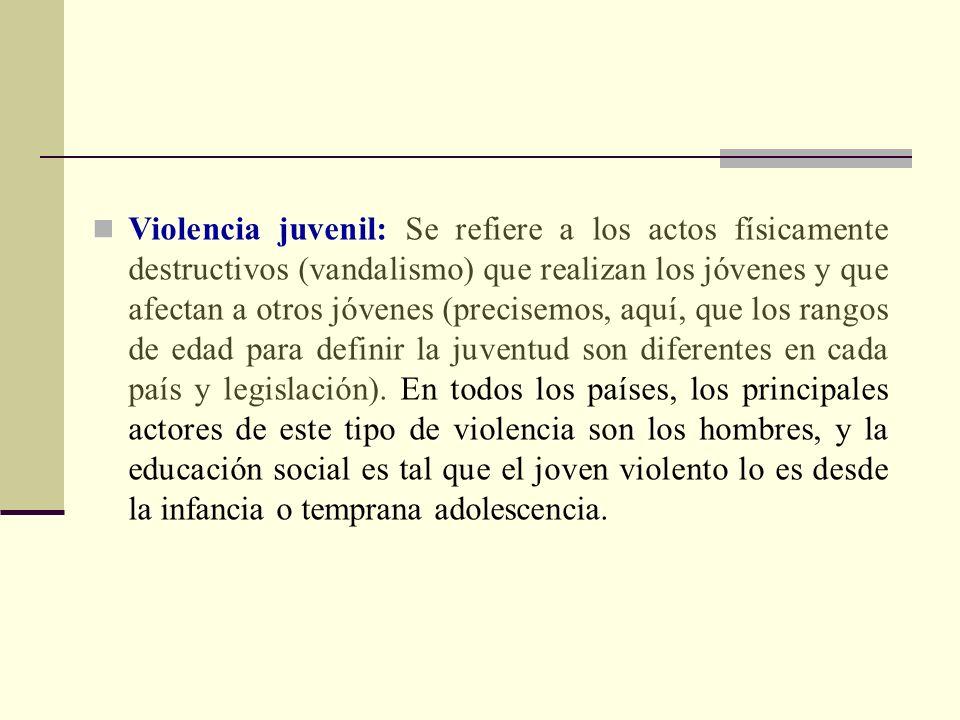 Violencia juvenil: Se refiere a los actos físicamente destructivos (vandalismo) que realizan los jóvenes y que afectan a otros jóvenes (precisemos, aquí, que los rangos de edad para definir la juventud son diferentes en cada país y legislación).