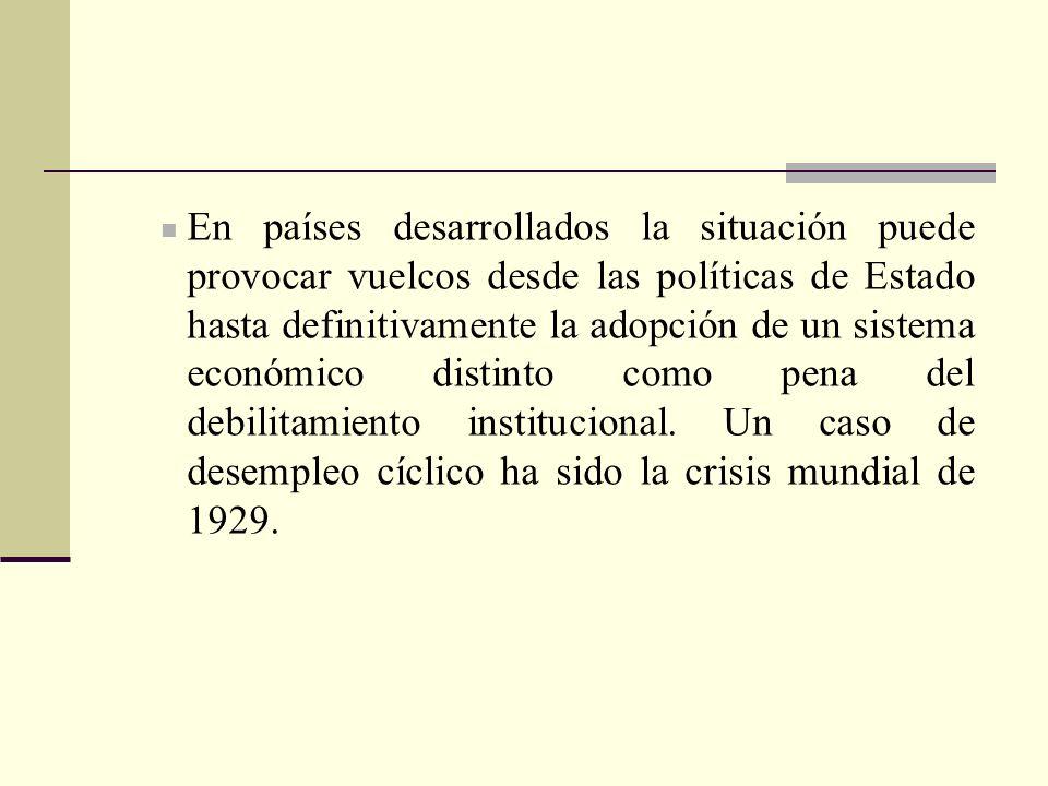 En países desarrollados la situación puede provocar vuelcos desde las políticas de Estado hasta definitivamente la adopción de un sistema económico distinto como pena del debilitamiento institucional.
