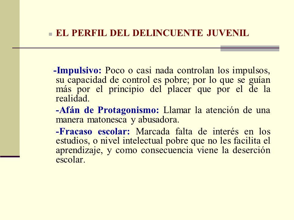 EL PERFIL DEL DELINCUENTE JUVENIL
