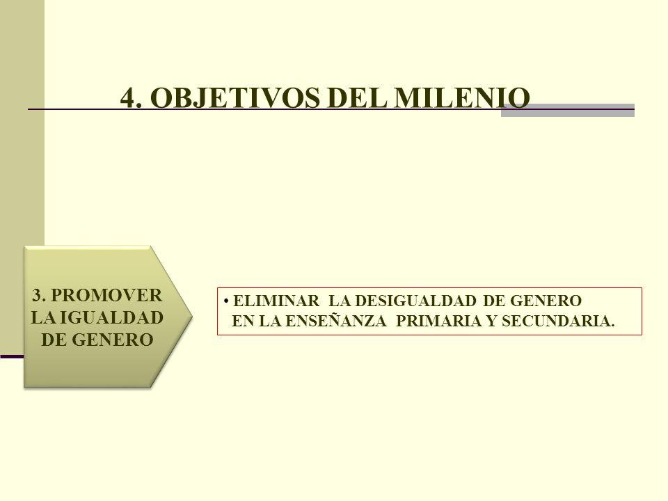 4. OBJETIVOS DEL MILENIO 3. PROMOVER LA IGUALDAD DE GENERO