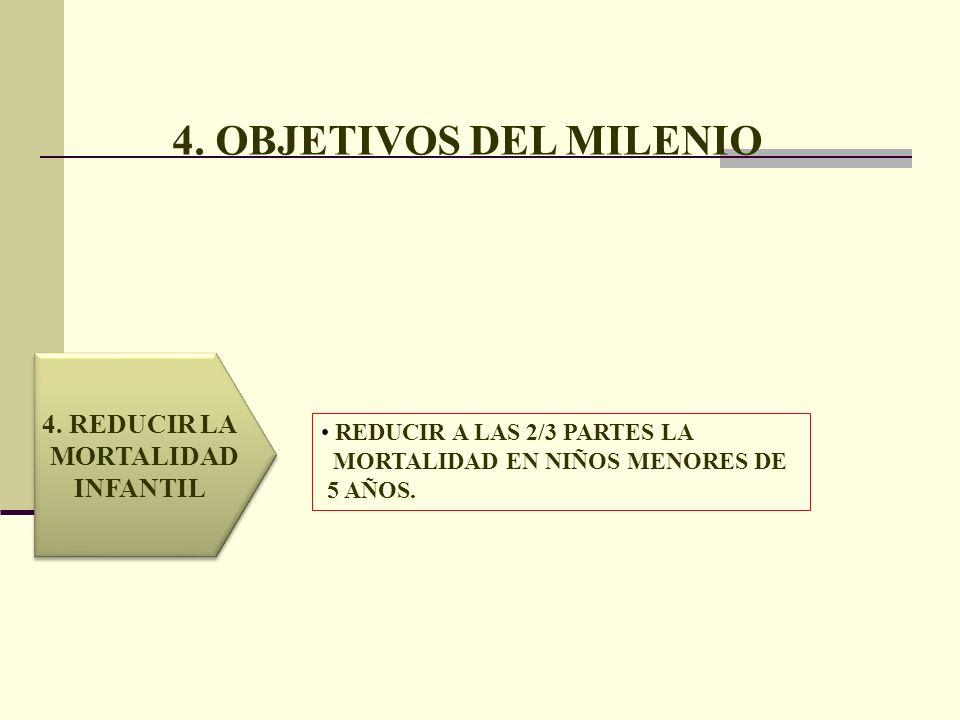 4. OBJETIVOS DEL MILENIO 4. REDUCIR LA MORTALIDAD INFANTIL