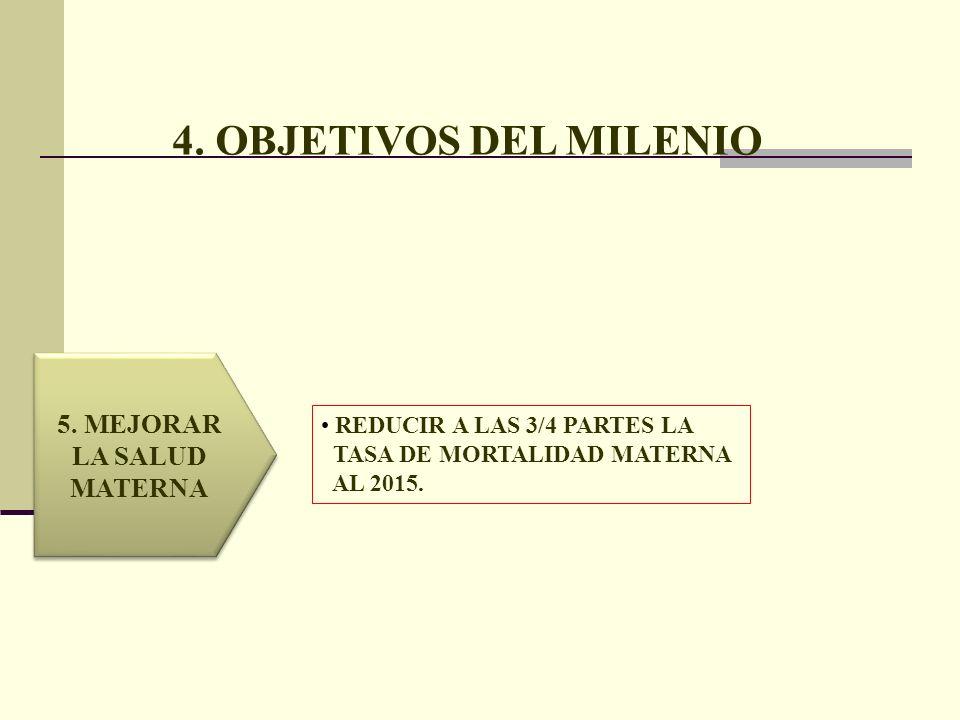 4. OBJETIVOS DEL MILENIO 5. MEJORAR LA SALUD MATERNA