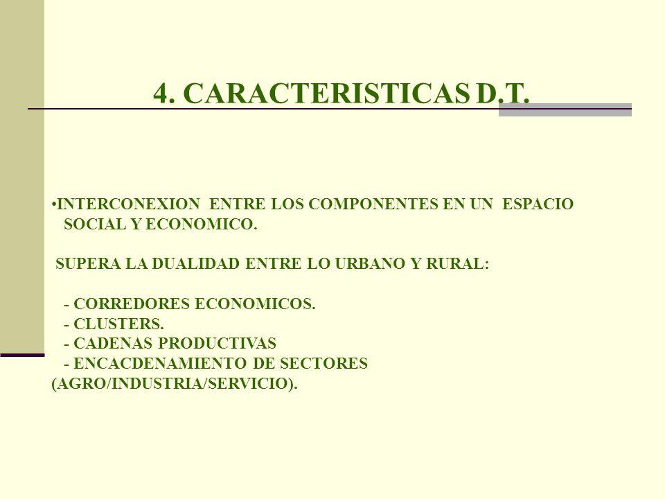 4. CARACTERISTICAS D.T. INTERCONEXION ENTRE LOS COMPONENTES EN UN ESPACIO. SOCIAL Y ECONOMICO. SUPERA LA DUALIDAD ENTRE LO URBANO Y RURAL: