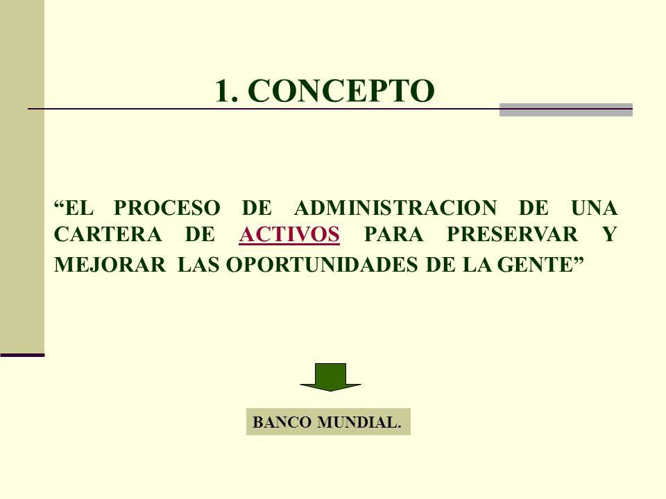 1. CONCEPTO EL PROCESO DE ADMINISTRACION DE UNA CARTERA DE ACTIVOS PARA PRESERVAR Y MEJORAR LAS OPORTUNIDADES DE LA GENTE