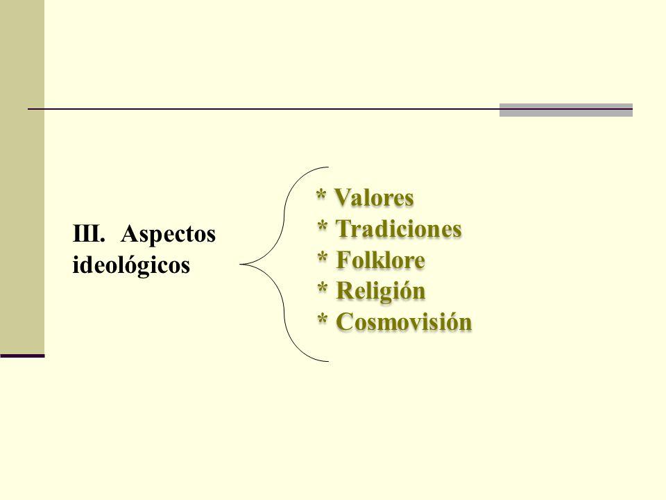III. Aspectos ideológicos