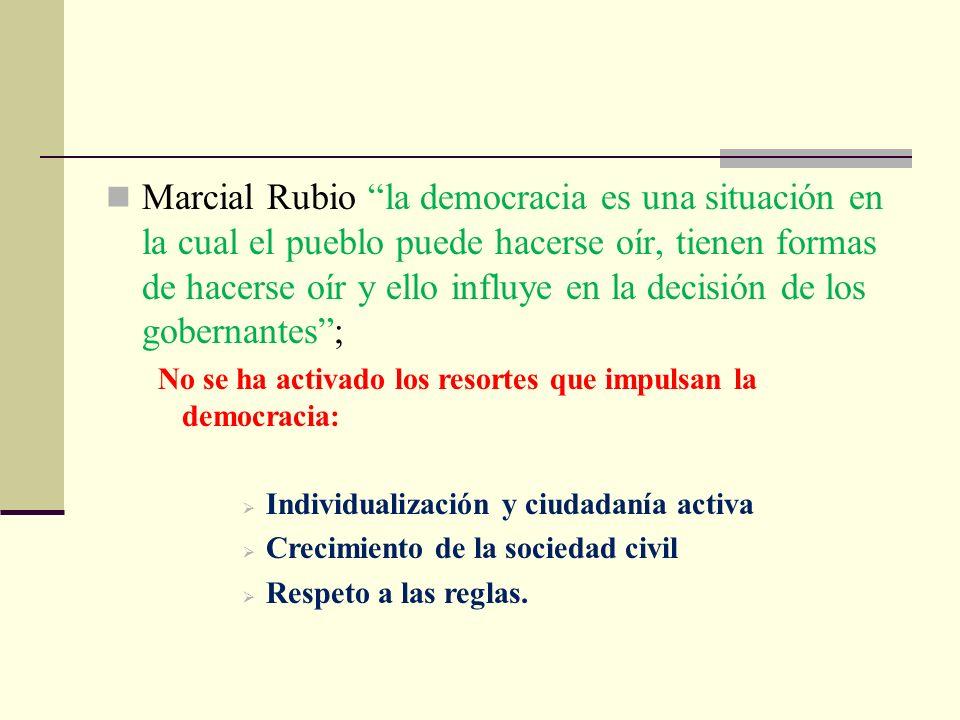 Marcial Rubio la democracia es una situación en la cual el pueblo puede hacerse oír, tienen formas de hacerse oír y ello influye en la decisión de los gobernantes ;