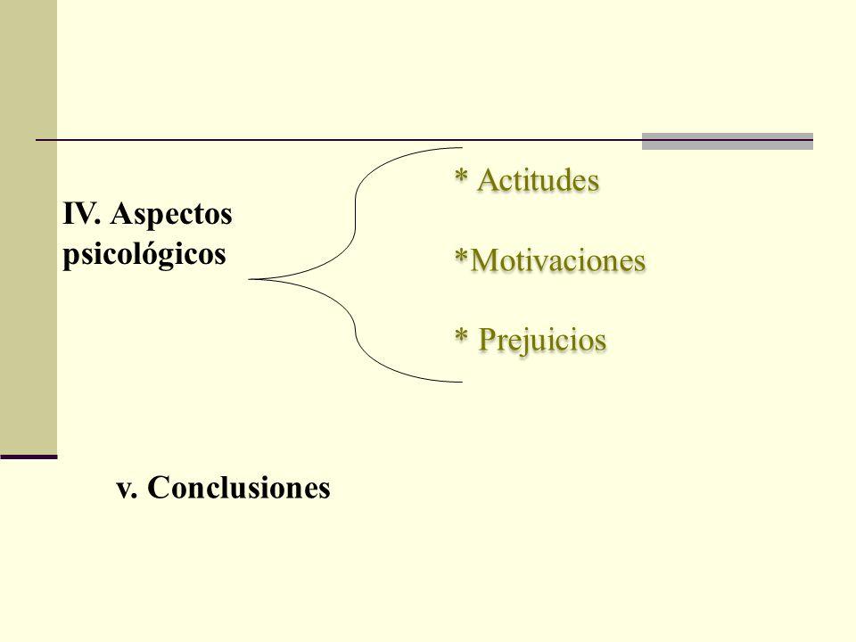 * Actitudes *Motivaciones * Prejuicios IV. Aspectos psicológicos v. Conclusiones