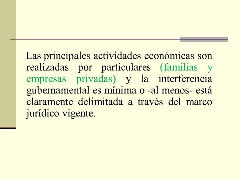 Las principales actividades económicas son realizadas por particulares (familias y empresas privadas) y la interferencia gubernamental es mínima o -al menos- está claramente delimitada a través del marco jurídico vigente.