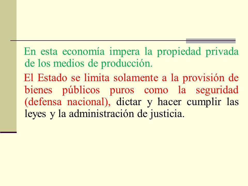 En esta economía impera la propiedad privada de los medios de producción.