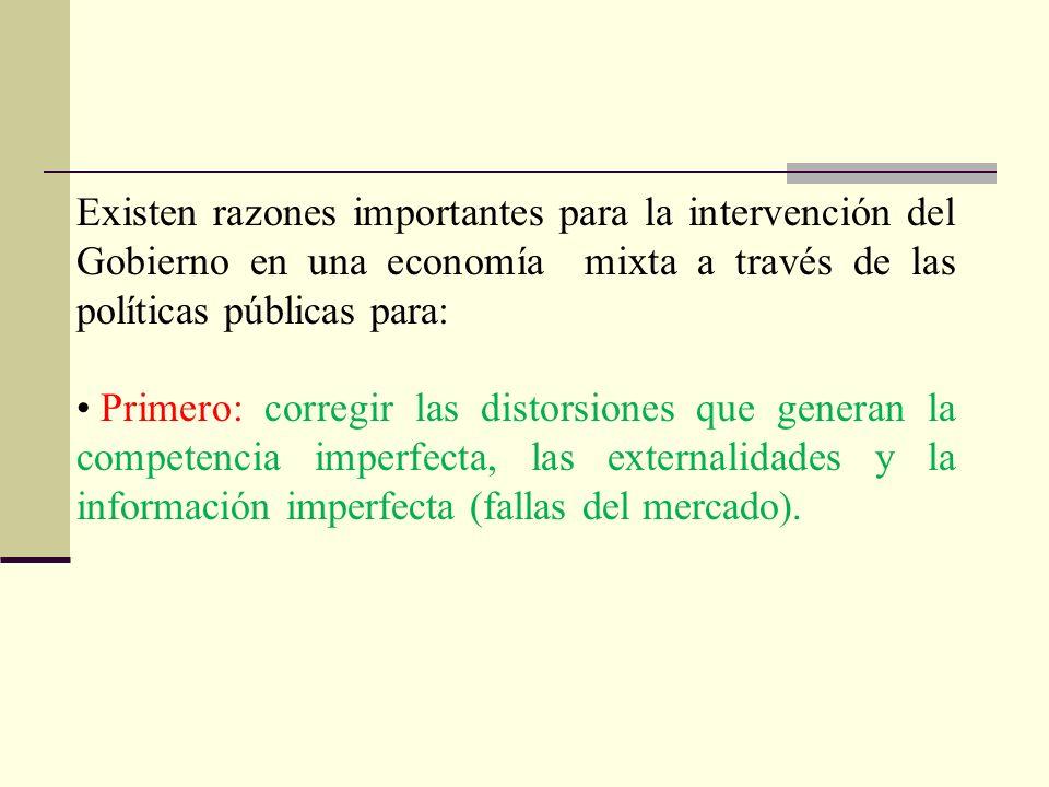 Existen razones importantes para la intervención del Gobierno en una economía mixta a través de las políticas públicas para: