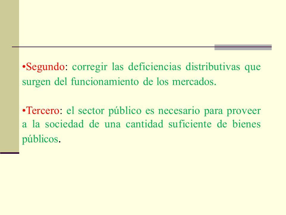 Segundo: corregir las deficiencias distributivas que surgen del funcionamiento de los mercados.