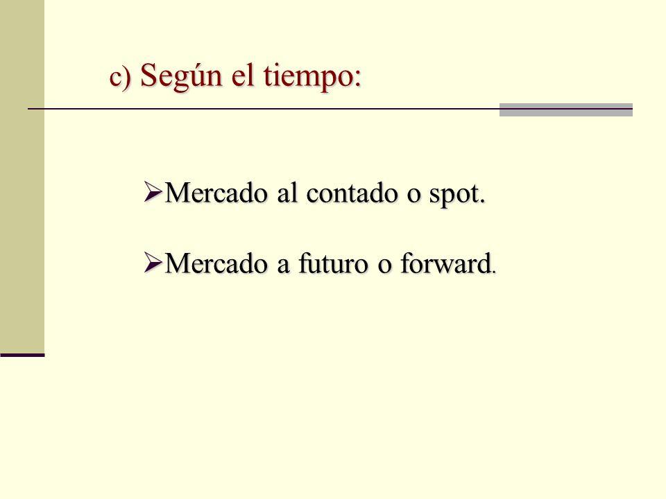 c) Según el tiempo: Mercado al contado o spot. Mercado a futuro o forward.