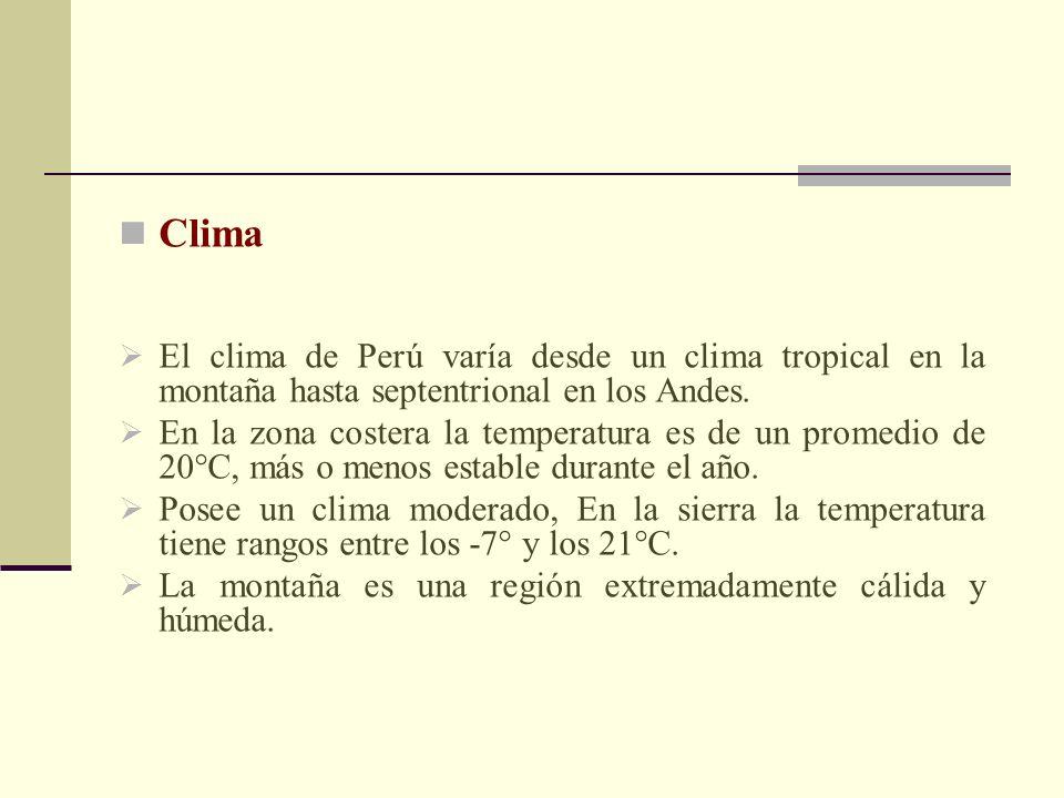 ClimaEl clima de Perú varía desde un clima tropical en la montaña hasta septentrional en los Andes.