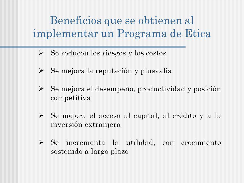 Beneficios que se obtienen al implementar un Programa de Etica