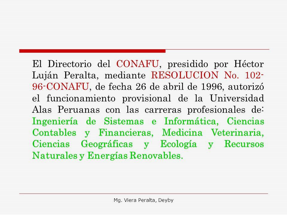 El Directorio del CONAFU, presidido por Héctor Luján Peralta, mediante RESOLUCION No. 102-96-CONAFU, de fecha 26 de abril de 1996, autorizó el funcionamiento provisional de la Universidad Alas Peruanas con las carreras profesionales de: Ingeniería de Sistemas e Informática, Ciencias Contables y Financieras, Medicina Veterinaria, Ciencias Geográficas y Ecología y Recursos Naturales y Energías Renovables.