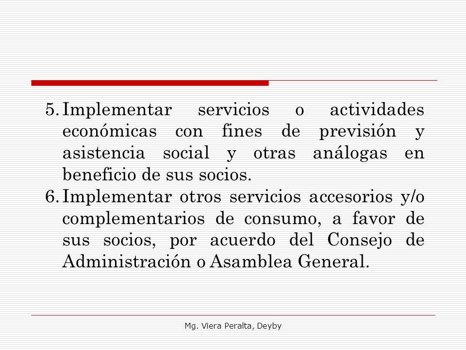 Implementar servicios o actividades económicas con fines de previsión y asistencia social y otras análogas en beneficio de sus socios.