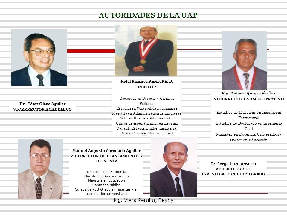 AUTORIDADES DE LA UAP Mg. Viera Peralta, Deyby