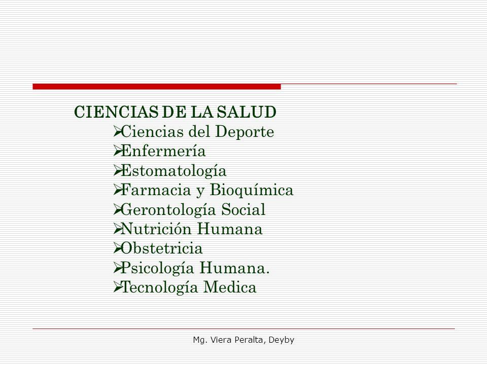 CIENCIAS DE LA SALUD Ciencias del Deporte Enfermería Estomatología