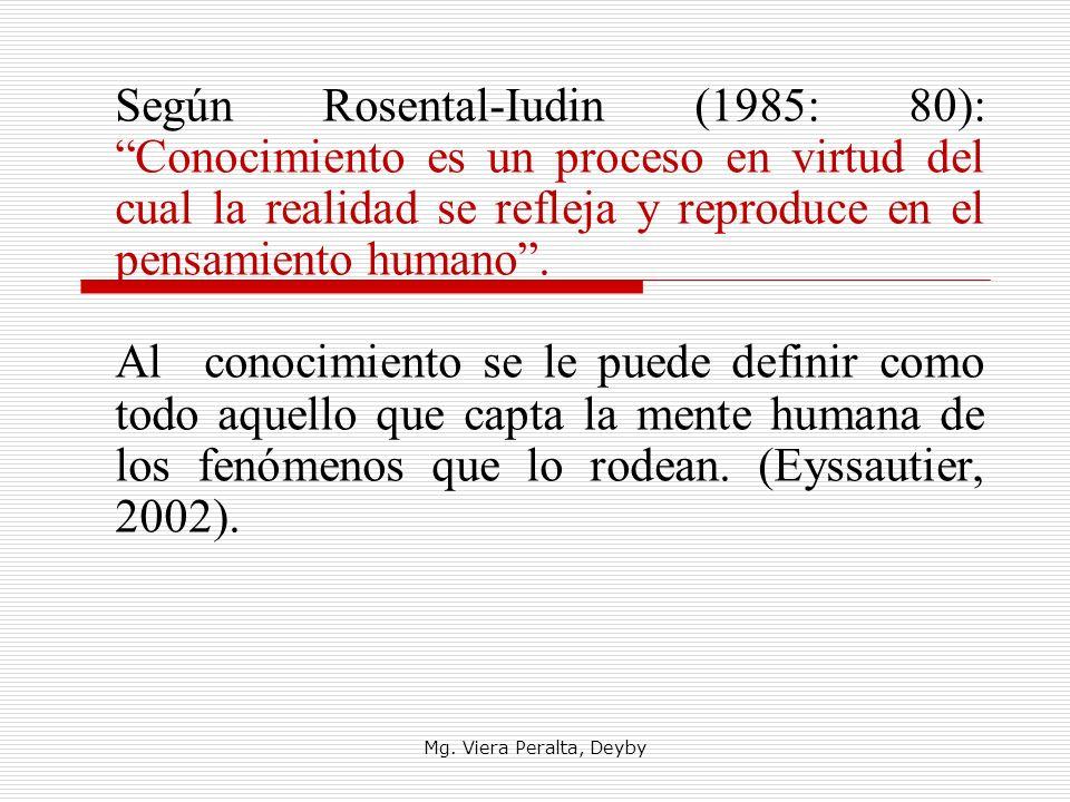 Según Rosental-Iudin (1985: 80): Conocimiento es un proceso en virtud del cual la realidad se refleja y reproduce en el pensamiento humano .