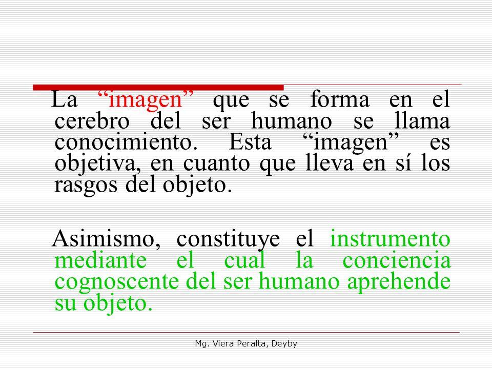 La imagen que se forma en el cerebro del ser humano se llama conocimiento. Esta imagen es objetiva, en cuanto que lleva en sí los rasgos del objeto.