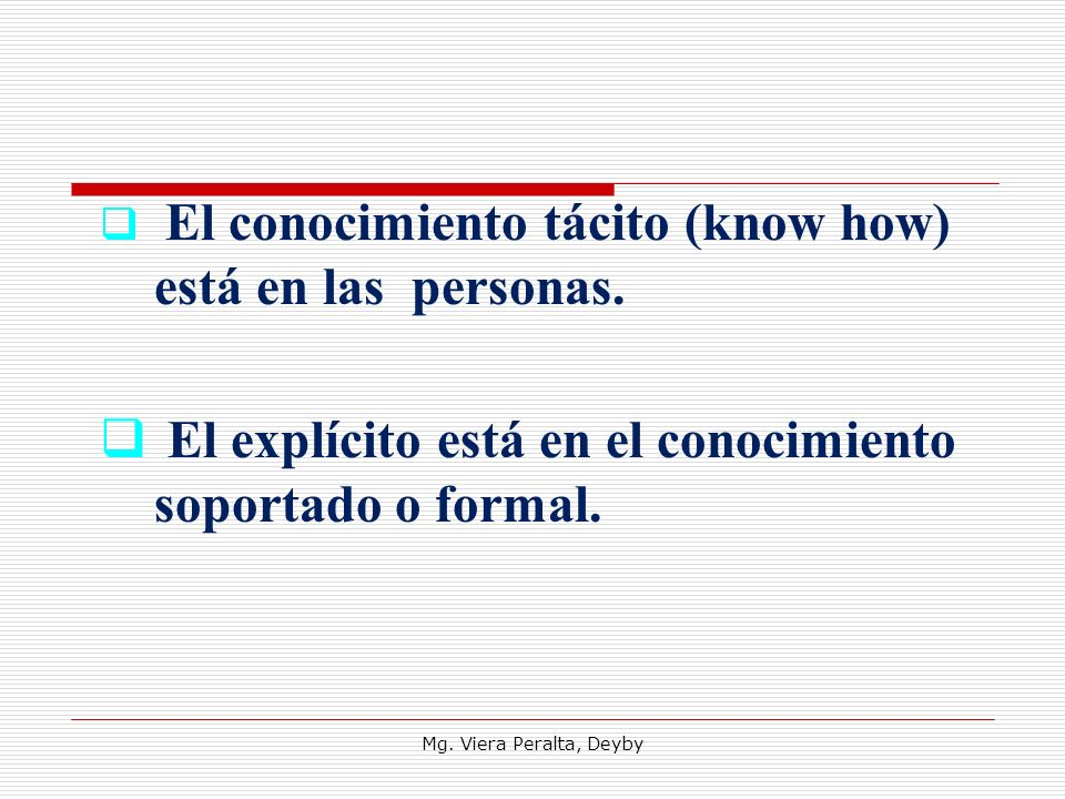 El explícito está en el conocimiento soportado o formal.