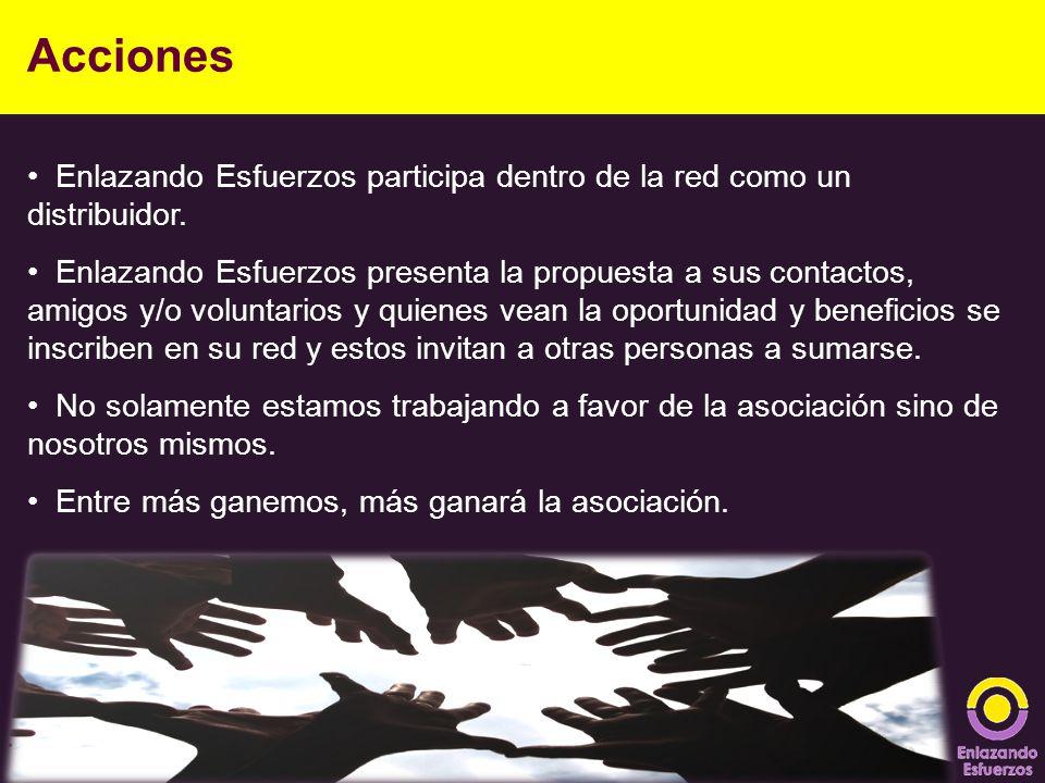 Acciones Enlazando Esfuerzos participa dentro de la red como un distribuidor.