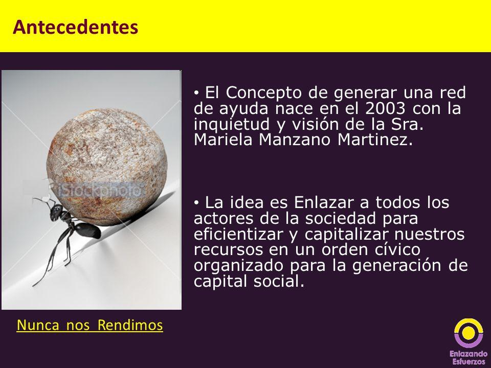 Antecedentes El Concepto de generar una red de ayuda nace en el 2003 con la inquietud y visión de la Sra. Mariela Manzano Martinez.
