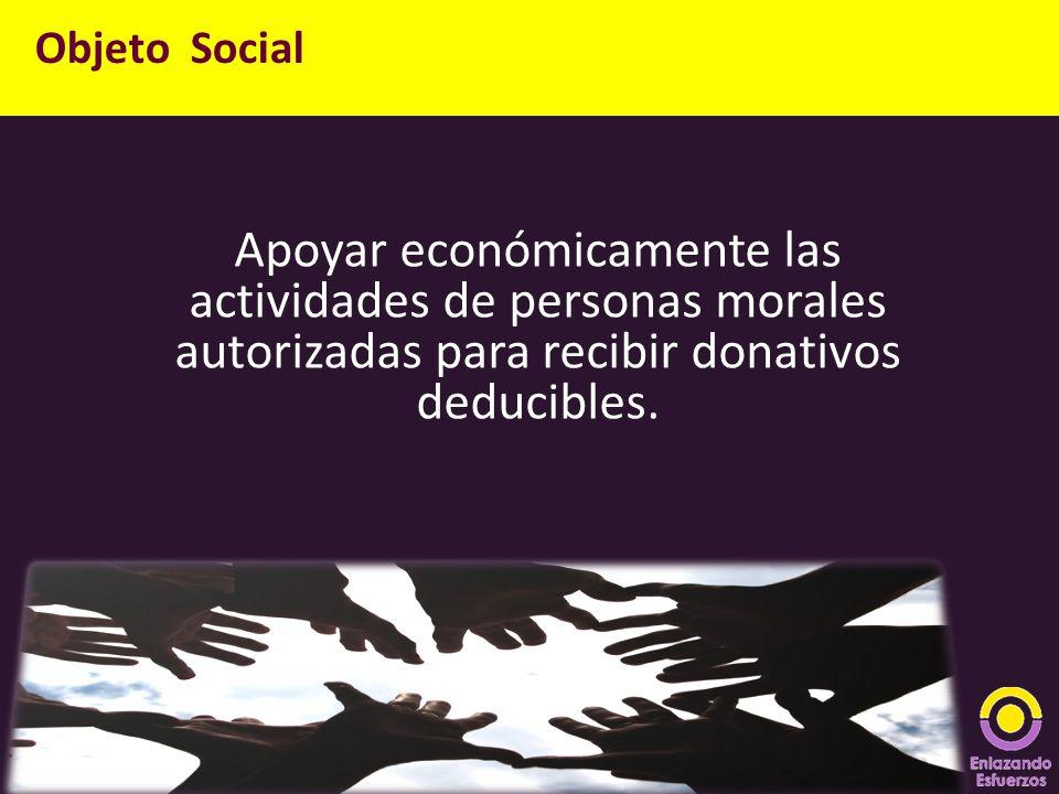 Objeto Social Apoyar económicamente las actividades de personas morales autorizadas para recibir donativos deducibles.
