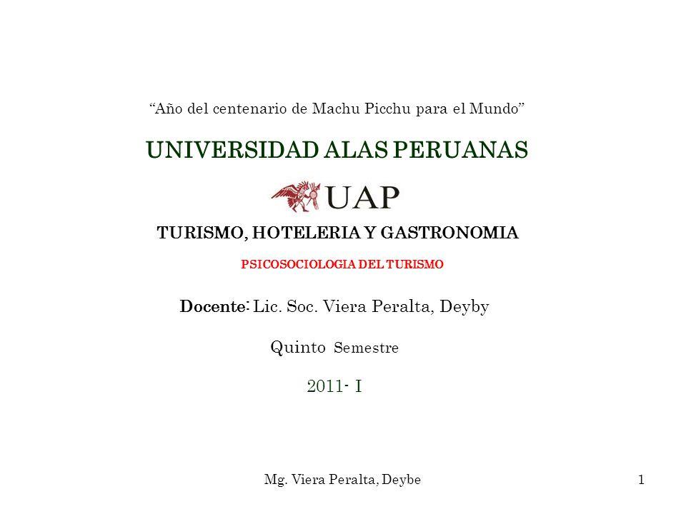 Año del centenario de Machu Picchu para el Mundo UNIVERSIDAD ALAS PERUANAS TURISMO, HOTELERIA Y GASTRONOMIA PSICOSOCIOLOGIA DEL TURISMO Docente: Lic. Soc. Viera Peralta, Deyby Quinto Semestre 2011- I