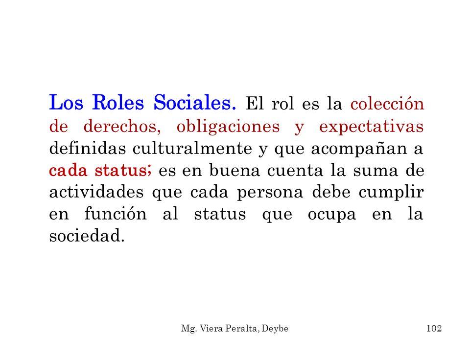 Los Roles Sociales. El rol es la colección de derechos, obligaciones y expectativas definidas culturalmente y que acompañan a cada status; es en buena cuenta la suma de actividades que cada persona debe cumplir en función al status que ocupa en la sociedad.