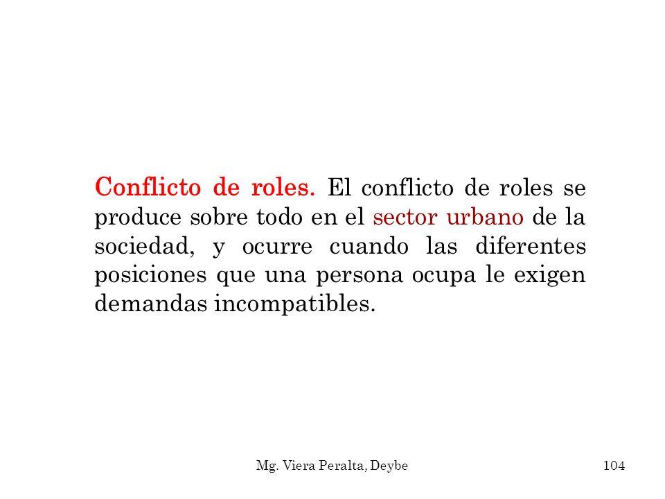 Conflicto de roles. El conflicto de roles se produce sobre todo en el sector urbano de la sociedad, y ocurre cuando las diferentes posiciones que una persona ocupa le exigen demandas incompatibles.