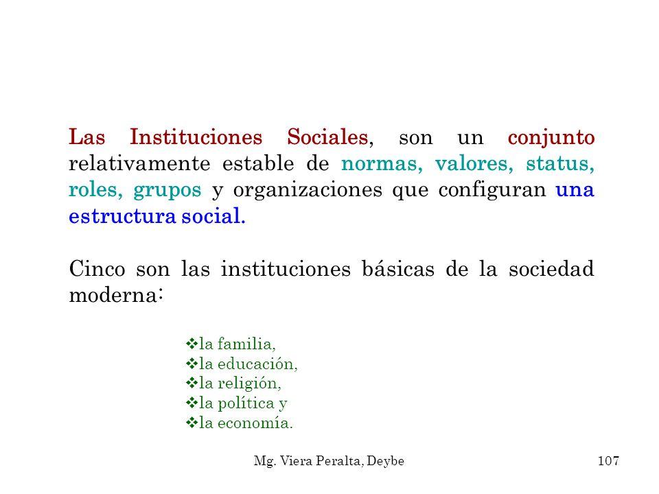 Cinco son las instituciones básicas de la sociedad moderna: