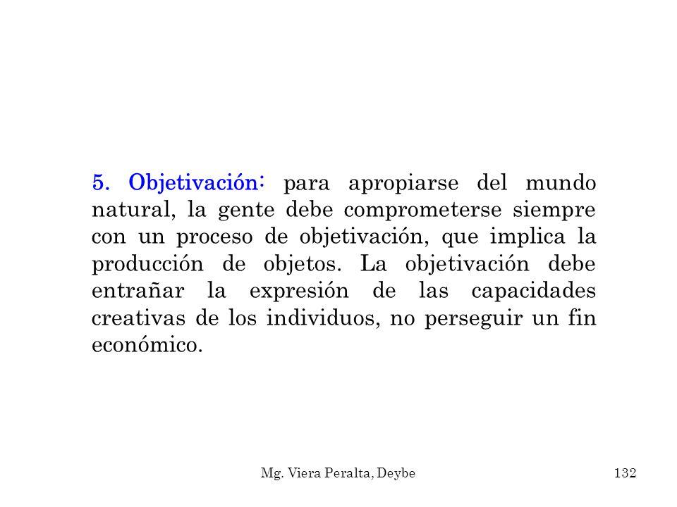 5. Objetivación: para apropiarse del mundo natural, la gente debe comprometerse siempre con un proceso de objetivación, que implica la producción de objetos. La objetivación debe entrañar la expresión de las capacidades creativas de los individuos, no perseguir un fin económico.