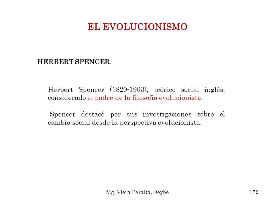 EL EVOLUCIONISMO HERBERT SPENCER.