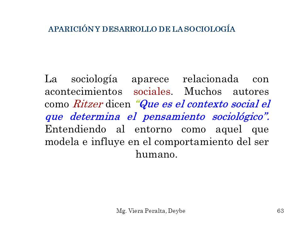 APARICIÓN Y DESARROLLO DE LA SOCIOLOGÍA