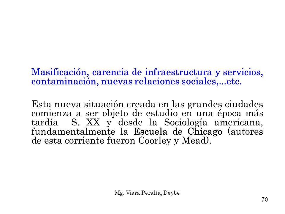 Masificación, carencia de infraestructura y servicios, contaminación, nuevas relaciones sociales,...etc.