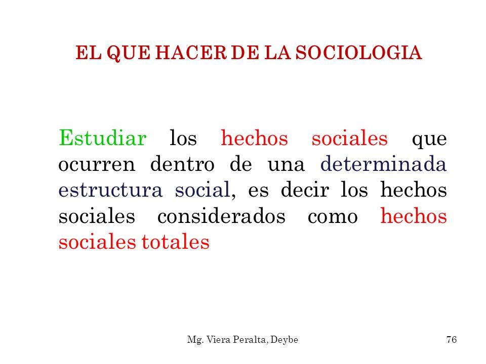 EL QUE HACER DE LA SOCIOLOGIA