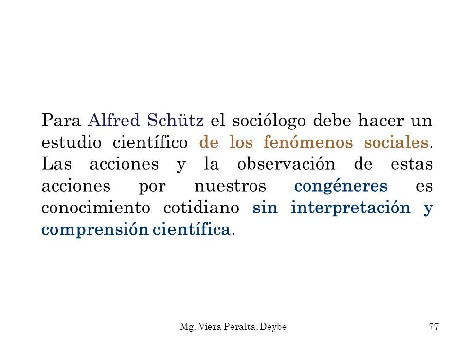 Para Alfred Schütz el sociólogo debe hacer un estudio científico de los fenómenos sociales. Las acciones y la observación de estas acciones por nuestros congéneres es conocimiento cotidiano sin interpretación y comprensión científica.