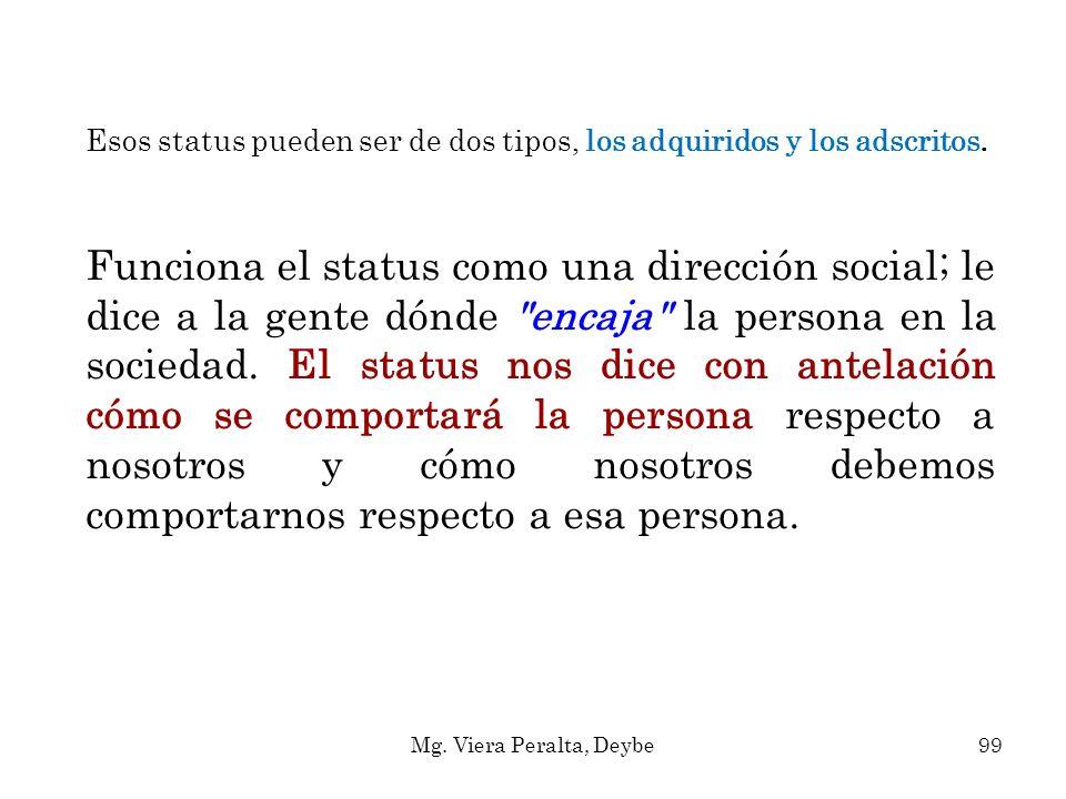 Esos status pueden ser de dos tipos, los adquiridos y los adscritos.