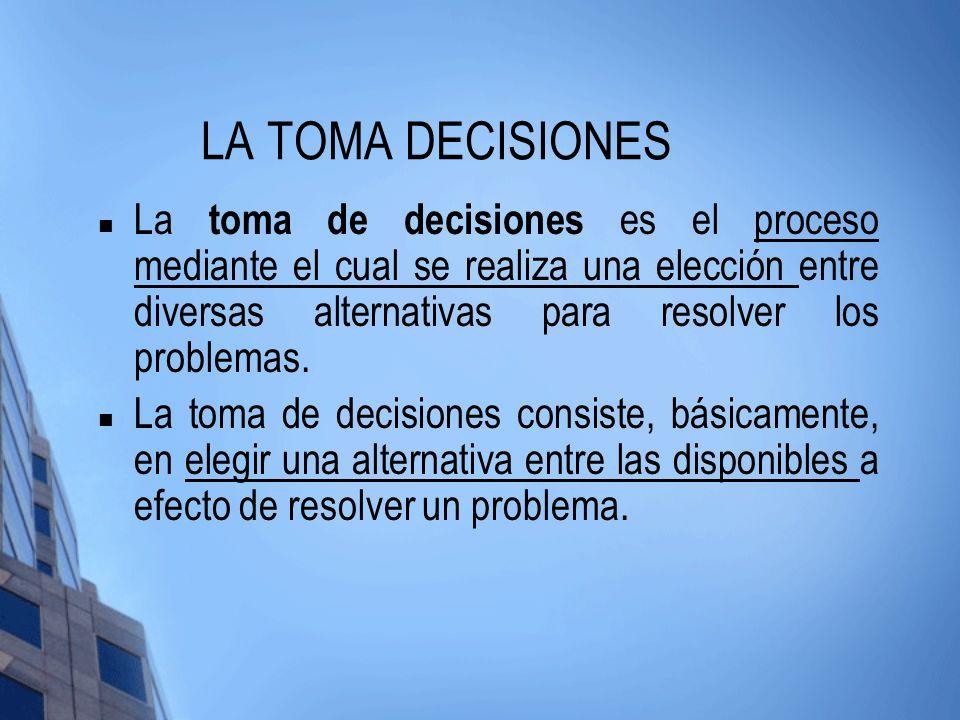 LA TOMA DECISIONES