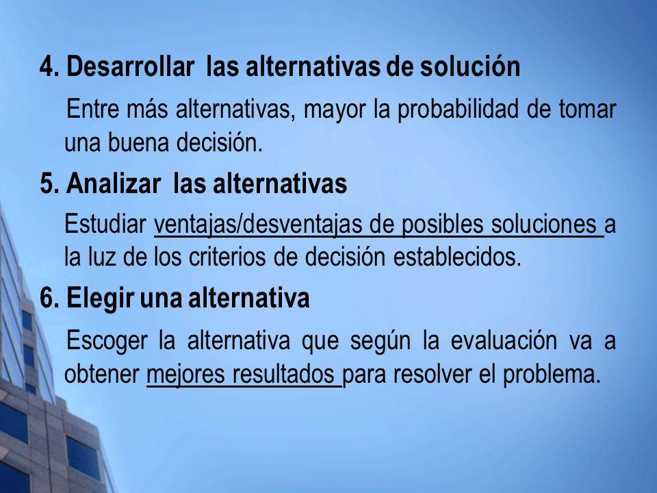 4. Desarrollar las alternativas de solución