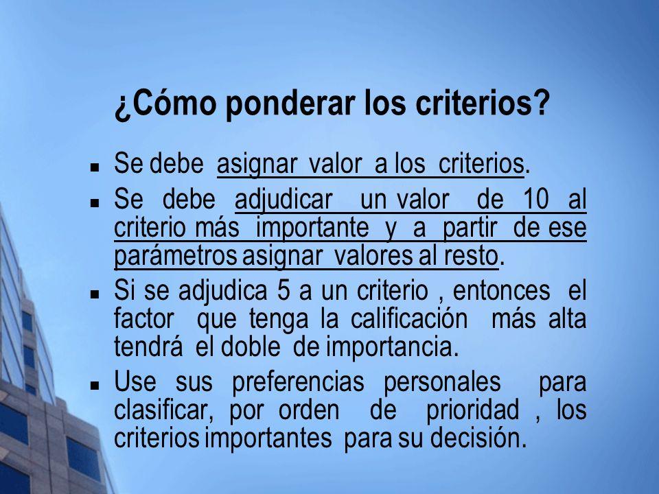 ¿Cómo ponderar los criterios