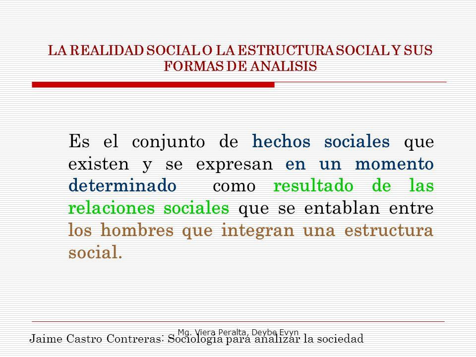 LA REALIDAD SOCIAL O LA ESTRUCTURA SOCIAL Y SUS FORMAS DE ANALISIS