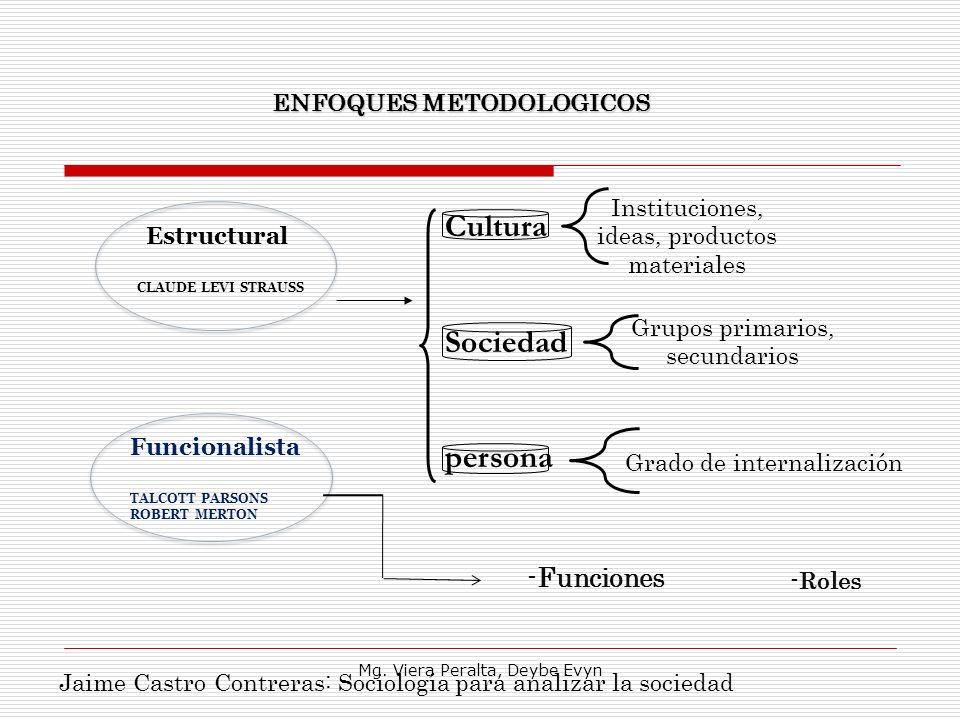 Cultura Sociedad persona -Funciones ENFOQUES METODOLOGICOS