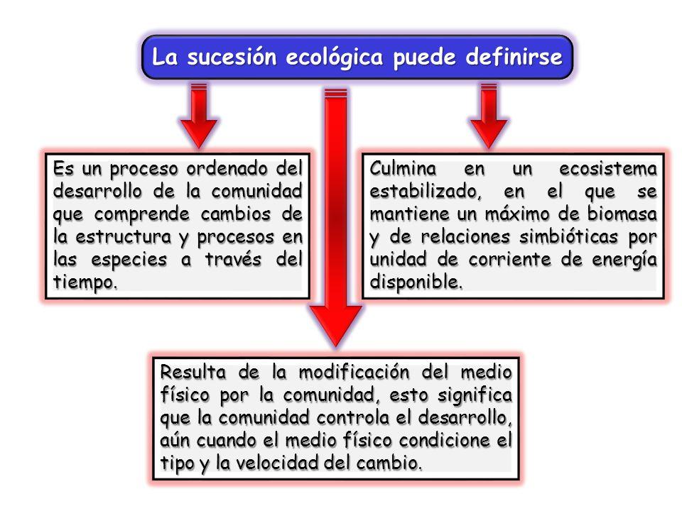 La sucesión ecológica puede definirse