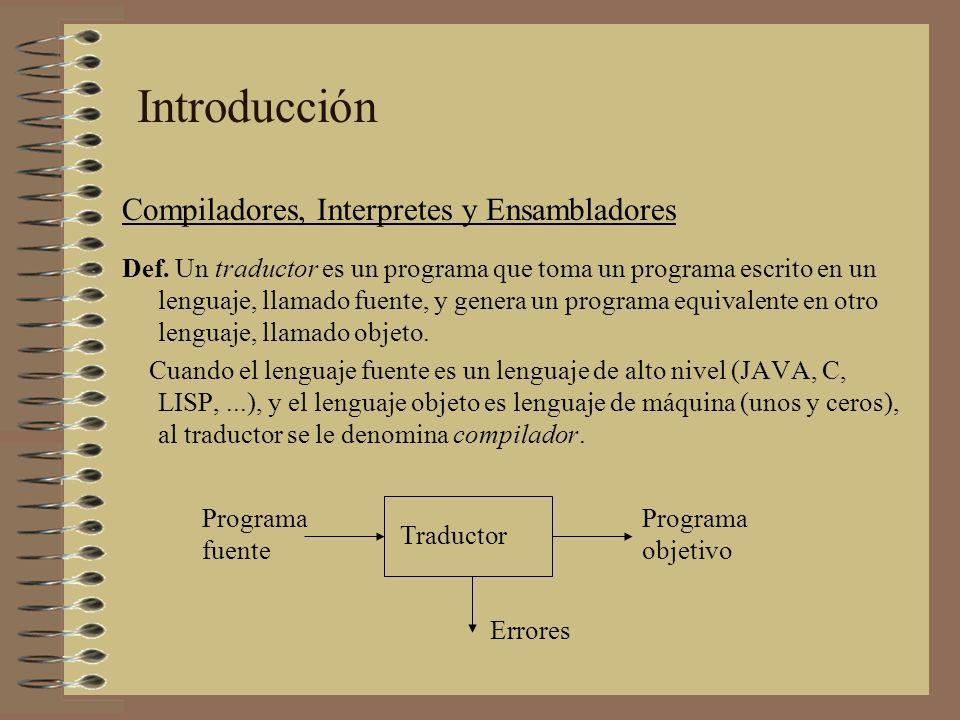 Introducción Compiladores, Interpretes y Ensambladores