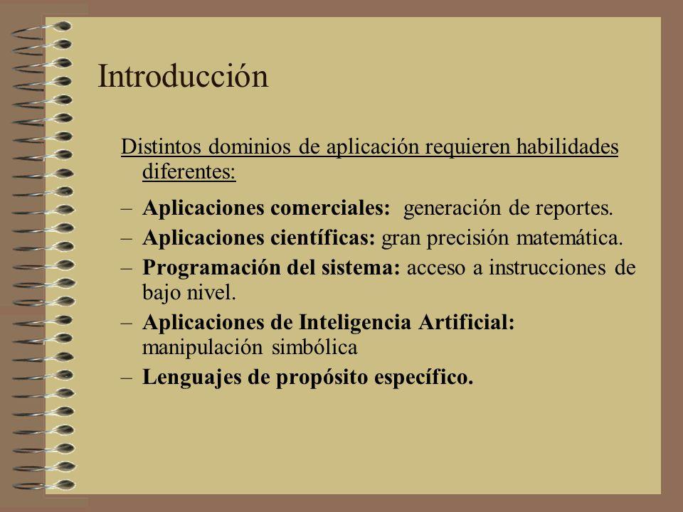 Introducción Distintos dominios de aplicación requieren habilidades diferentes: Aplicaciones comerciales: generación de reportes.