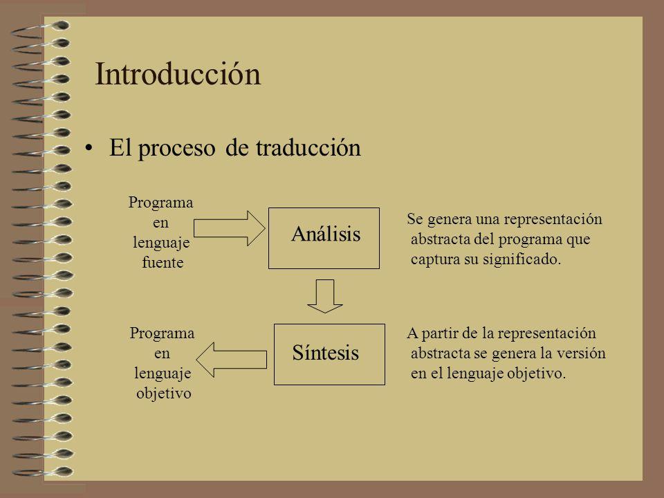Introducción El proceso de traducción Análisis Síntesis Programa en
