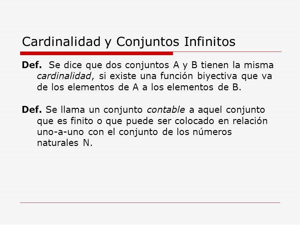 Cardinalidad y Conjuntos Infinitos