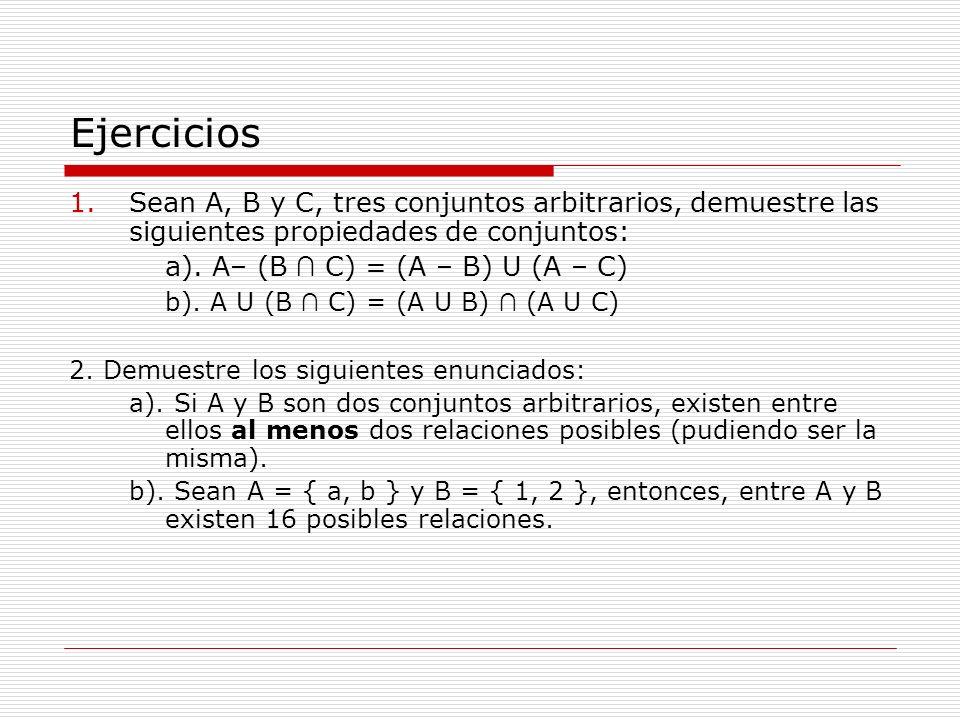 Ejercicios Sean A, B y C, tres conjuntos arbitrarios, demuestre las siguientes propiedades de conjuntos: